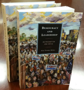 Photo of the paperback and hardback editions of 'Democracy and Leadership.'