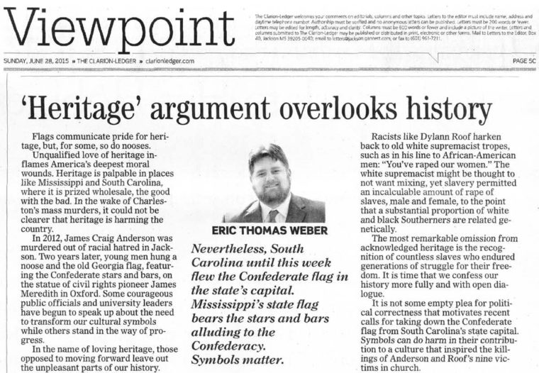 This is a photo of the cutout of the printed version of my article in the Clarion Ledger, titled 'Sometimes Heritage Does Harm.' The title for the printed version was ''Heritage' Argument Overlooks History.'