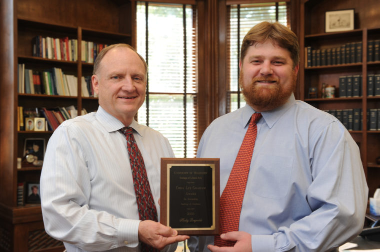 Dean Glenn Hopkins and Weber, receiving the Cora Lee Graham Award for Teaching.