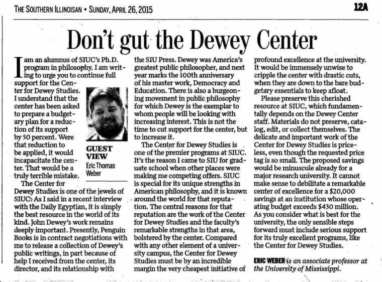 This is the scan of my op-ed in The Southern Illinoisan, titled 'Don't Gut the Dewey Center.'