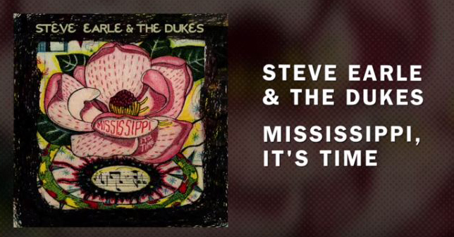 "Photo of the splash screen for Steve Earle & the Dukes' music video for ""Mississippi, It's Time."""