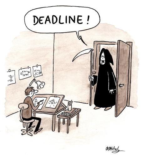 "Cartoon of a cartoonist at his drawing desk, with Death in a black hooded robe and with his scythe at the door yelling ""Deadline!"""