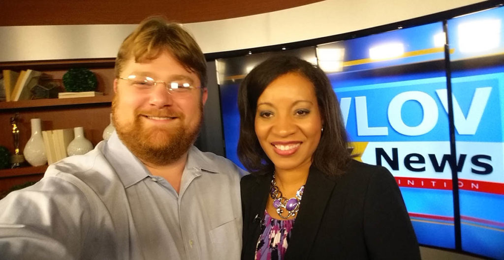 Selfie photo of Eric Thomas Weber with Katrina Berry of WLOV Tupelo.