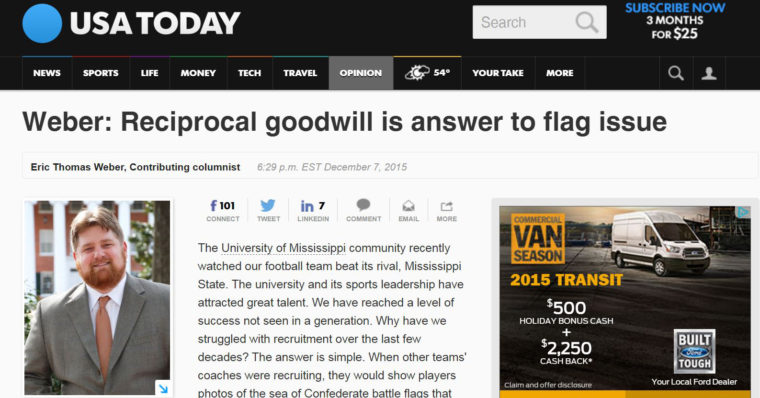 This is a photo of my first piece published on The USA Today Web site, 'Reciprocal Goodwill Is Answer to Flag Issue,' which links to my Storify page for my 'Top Tweets & Highlights of 2015.'