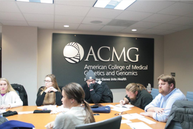 Photo of Weber with a class at the American College of Medical Genetics and Genomics, January 2016.