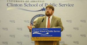 """Eric Thomas Weber, author of """"Uniting Mississippi: Democracy and Leadership in the South"""" speaks at Sturgis Hall October 19, 2015. Photo Credit: Jacob Slaton"""