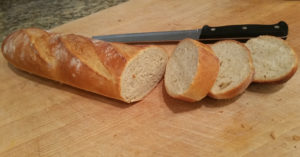 Sliced loaf of French bread.