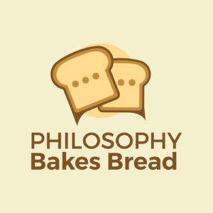 The logo for Philosophy Bakes Bread, which involves to slices of bread with tails, making them look like dialogue bubbles.