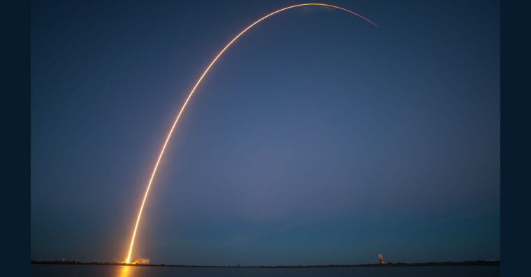 Image of a rocket's trajectory.